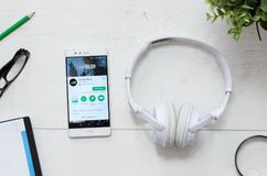 Deezer is a service that offers legal streaming music. WROCLAW, POLAND - MARCH 29, 2018: Deezer is a service that offers legal streaming music. Smartphone with royalty free stock image