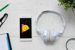 Google Music is a service that offers streaming music. WROCLAW, POLAND - MARCH 29, 2018: Google Music is a service that offers streaming music. Smartphone with royalty free stock images