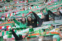 Wroclaw, POLAND - March 17: Match T-Mobile Ekstraklasa between Wks Slask Wroclaw and Podbeskidzie Bielsko-Biala, supporters with s Stock Photography