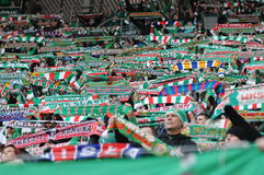 Wroclaw, POLAND - March 17: Match T-Mobile Ekstraklasa between Wks Slask Wroclaw and Podbeskidzie Bielsko-Biala, supporters with s Stock Photos
