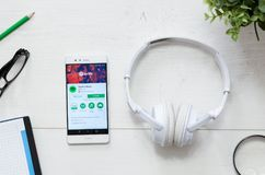Spotify is a music service that offers legal streaming music. WROCLAW, POLAND - MARCH 29, 2018: Spotify is a music service that offers legal streaming music royalty free stock photos