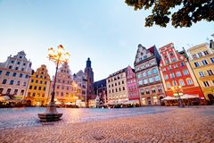 Wroclaw, Poland. The market square. With colorful historical buildings at the evening. Silesia region Royalty Free Stock Images
