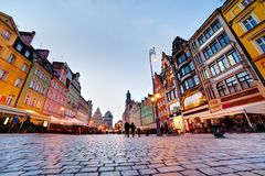 Wroclaw, Poland. The market square at the evening Royalty Free Stock Image
