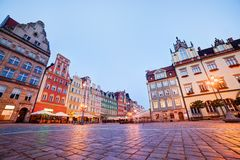 Wroclaw, Poland. The market square at the evening Royalty Free Stock Photography