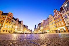 Wroclaw, Poland. The market square at night. And St. Elizabeth's Church. Silesia region Royalty Free Stock Photography