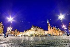 Wroclaw, Poland. The market square at night Stock Photos