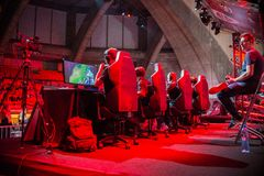 E-spor, GEFORCE CUP 2017, League of Leg. Wroclaw. POLAND - May 28:E-spor, GEFORCE CUP 2017, League of Legends match  on May 28, 2017 in Wroclaw. Poland Royalty Free Stock Photos