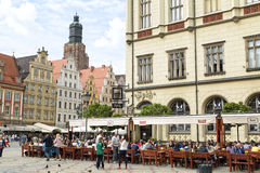 Wroclaw, Poland, 23 May 2015: People walking in old town of Wroclaw, Poland Stock Photography