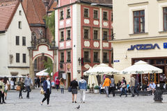 Wroclaw, Poland, 23 May 2015: People walking in old town of Wroclaw, Poland Royalty Free Stock Photography