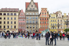 Wroclaw, Poland, 23 May 2015: People walking in old town of Wroclaw, Poland Royalty Free Stock Photo