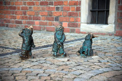 Wroclaw, Poland - May 10: Wroclaw dwarfs on the street on May 10 Royalty Free Stock Photography
