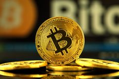WROCLAW, POLAND - OCTOBER 14, 2017: High interest in bitcoin, new virtual money. Conceptual image for worldwide cryptocurrency and Royalty Free Stock Photo