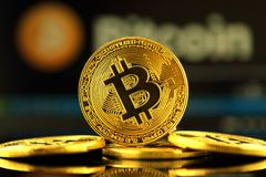 WROCLAW, POLAND - OCTOBER 14, 2017: High interest in bitcoin, new virtual money. Conceptual image for worldwide cryptocurrency and. Digital payment system first Royalty Free Stock Image