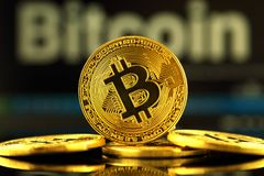 WROCLAW, POLAND - OCTOBER 14, 2017: High interest in bitcoin, new virtual money. Conceptual image for worldwide cryptocurrency and Royalty Free Stock Images