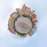 WROCLAW, POLAND - OCTOBER 2018: Little planet. Spherical aerial 360 panorama view on street ancient medieval city Wroclaw, Poland royalty free stock photography