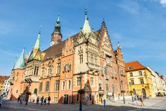 Morning scene on Wroclaw Market Square with Town Hall, Poland stock images