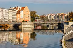 Odra river in Wroclaw, Poland. Wroclaw is a city in western Poland and largest city in Silesia royalty free stock photography