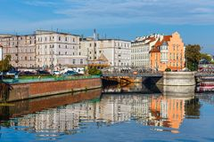 Odra river in Wroclaw, Poland. Wroclaw is a city in western Poland and largest city in Silesia stock image