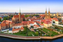 Wroclaw, Poland. Ostrow Tumski with gothic cathedral and church. Poland. Wroclaw. Ostrow Tumski district with Gothic cathedral of St. John the Baptist royalty free stock photo