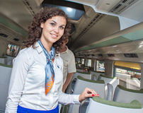 Wroclaw poland pendolino first time shown to public stewardess inviting Royalty Free Stock Photography