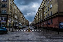 Wroclaw, Poland, September 10, 2017: City street cloudy day royalty free stock image