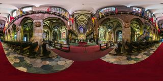 WROCLAW, POLAND - SEPTEMBER, 2018: full seamless spherical panorama 360 degrees angle view interior gothic catholic cathedral of stock images