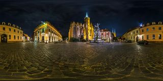 WROCLAW, POLAND - SEPTEMBER, 2018: night full seamless spherical panorama 360 degrees district Ostrow Tumski with spires royalty free stock photography