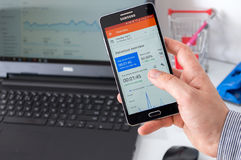 WROCLAW, POLAND- SEPTEMBER 07th, 2016 : Samsung A5 with Google Analytics application Stock Photos