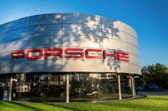 WROCLAW, POLAND- SEPTEMBER 17th, 2016: WROCLAW, POLAND- SEPTEMBER 17th, 2016: Building of polish Porsche dealer Royalty Free Stock Photos