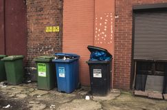 Wroclaw, Poland, September 10, 2017 : waste bins for sorting center city. Wroclaw, Poland, September 10, 2017 waste bins for sorting center city royalty free stock images