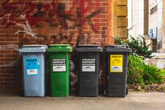 Wroclaw, Poland, September 10, 2017 : waste bins for sorting center city. Wroclaw, Poland, September 10, 2017 waste bins for sorting center city day royalty free stock image