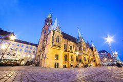 Wroclaw, Poland. The Town Hall on market square at night Royalty Free Stock Image