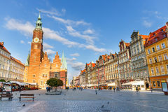 Wroclaw, Poland, 24.06.2015: Unidentified tourists visiting old town in Wroclaw, Poland Royalty Free Stock Photos