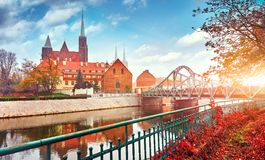 Wroclaw Poland view at Tumski island Royalty Free Stock Photography