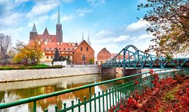 Wroclaw Poland view at Tumski island Royalty Free Stock Image
