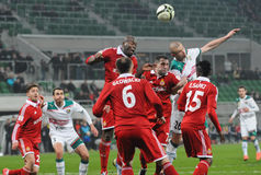 WROCLAW POLEN - April 10: Match Puchar Polski mellan Wks Slask Arkivbilder