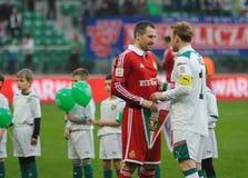 WROCLAW POLEN - April 10: Match Puchar Polski mellan Wks Slask Wroclaw och Wisla Krakow Royaltyfri Fotografi