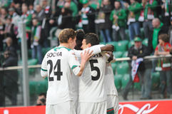 WROCLAW POLEN - April 10: Match Puchar Polski mellan Wks Slask Wroclaw och Wisla Krakow Arkivbild