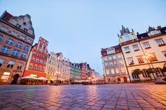 Wroclaw, Polen. Het marktvierkant bij de avond royalty-vrije stock fotografie