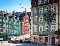 Wroclaw - Polen historisk mitt Arkivbild