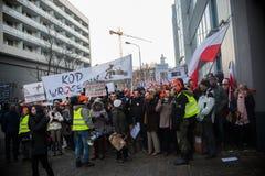 Wroclaw, POLEN - JANUARI 22, 2017: Demonstratie die door K wordt georganiseerd Stock Foto