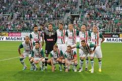 WROCLAW POLEN - Juli 18: Uefa-Europaliga, Slask Wroclaw lag, Slask Wroclaw vs Rudar Pljevlja på Juli 18: , 2013 i Wroclaw, Po Royaltyfri Foto