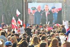 Wroclaw Polen, November 2018 Berömmar av den Polen självständighetsdagen i Wroclaw royaltyfri foto