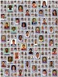 WROCLAW POLEN - NOVEMBER 20, 2016: Illustrativ ledare av collage många berömda europeiska fotbollsspelare Arkivbilder