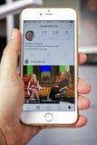 wroclaw POLEN 20, Oktober, 2016: De rekening van Instagram van Donald Trump op Iphone 6 die wordt getoond plus, Royalty-vrije Stock Afbeeldingen
