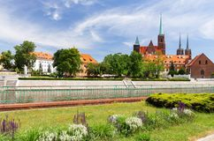 Wroclaw in Polen Oud kwart met gotische architectuur royalty-vrije stock foto's