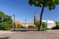 Wroclaw in Polen Oud kwart met gotische architectuur royalty-vrije stock afbeelding