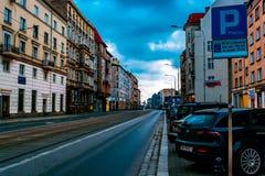 Wroclaw, Polen, 10 September, 2017: de straten van de oude stad in de vroege ochtend stock fotografie