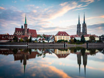 Wroclaw, Polen tweeëntwintigste oktober 2016 Panorama van Ostrow Tums Royalty-vrije Stock Afbeelding