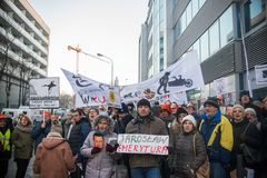 Wroclaw, POLOGNE - 22 janvier 2017 : Démonstration organisée par K Images stock